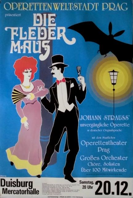 fledermaus die 1986 plakat operette strauss poster duisburg ebay. Black Bedroom Furniture Sets. Home Design Ideas
