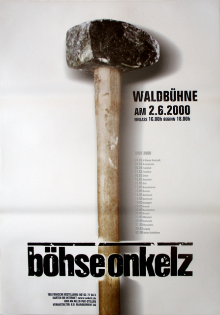 b hse onkelz 2000 konzertplakat concert tourposter. Black Bedroom Furniture Sets. Home Design Ideas