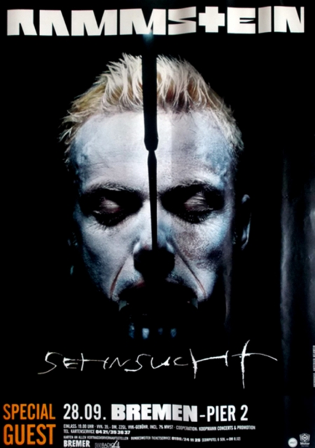 rammstein 1997 konzertplakat sehnsucht helnwein. Black Bedroom Furniture Sets. Home Design Ideas