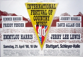 COUNTRY FETSTIVAL - 1990 - Emmylou Harris - Jerry Lee Lewis - Poster - Stuttgart