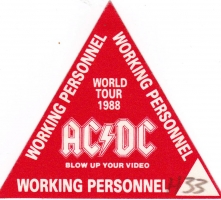 AC/DC - ACDC - 1988 - Working Pass - Blow up your Video - World Tour - Rot
