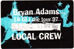ADAMS, BRYAN - 1997 - Local Crew Pass - 18 til I Die Tour - Stuttgart