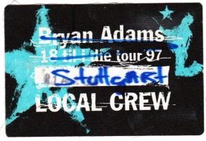 ADAMS, BRYAN - 1997 - Local Crew Pass - 18 til I Die Tour - Stuttgart - B