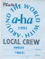 A-HA - 1991 - Local Crew Pass - Walk under Sun Dance..... Tour - Hamburg