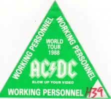 AC/DC - ACDC - 1988 - Working Pass - Blow up your Video - World Tour - Grün