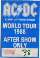 AC/DC - ACDC - 1988 - Local Crew Pass - Blow up your - World Tour - Stuttgart