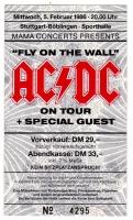 AC/DC - ACDC - 1986 - Ticket - Eintrittskarte - Fly on the Wall Tour - Stuttgart