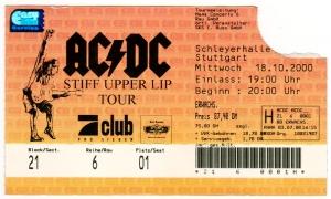 AC/DC - ACDC - 2000 - Ticket - Eintrittskarte - Stiff Upper Lip Tour - Stuttgart