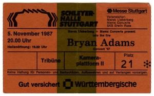 ADAMS, BRYAN - 1987 - Ticket - Eintrittskarte - In Concert - Stuttgart
