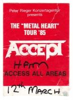 ACCEPT - 1985 - Access All Areas Pass - Metal Heart Tour - Hamburg