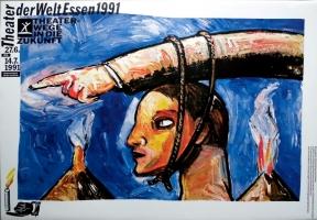 EDELMANN, HEINZ - 1991 - Plakat - Theater der Welt - Essen - Poster - B