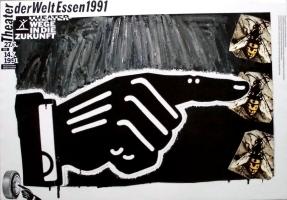 EDELMANN, HEINZ - 1991 - Plakat - Theater der Welt - Essen - Poster - C