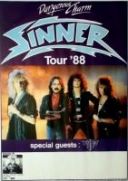 SINNER - 1988 - Tourplakat - In Concert - Dangerous Charm - Tourposter