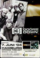 3 DOORS DOWN - 2004 - Konzertplakat - Concert - Tourposter - Hamburg