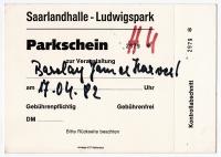 BARCLAY JAMES HARVEST - 1982 - Parkschein - Spring Tour - Saarbrücken