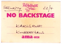 AMBROS, WOLFGANG - 1988 - Pass - Gewitter - Security  - No Backstage - Mannheim
