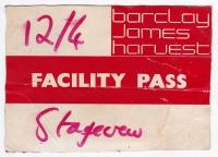 BARCLAY JAMES HARVEST - 1982 - Facility Pass - Spring Tour - Karlsruhe