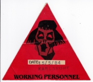BARCLAY JAMES HARVEST - 1984 - Working Pass - Victims of Circumstance - Karlsruh