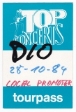 DIO - 1984 - Pass - The Last in Line - Tourpass - Local Promoter