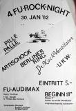 FU ROCK NIGHT 4. - 1982 - Konzertplakat - UKW - Pille Palle - Berlin - Weiss