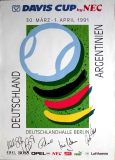 DAVIS CUB - TENNIS - 1991 - Plakat - Becker - Stich - Pilic - Steeb - Poster