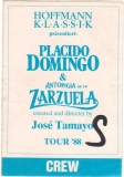 DOMINGO, PLACIDO - 1988 - Crew Pass - World Tour - Stuttgart