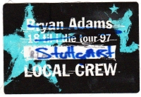 ADAMS, BRYAN - 1997 - Local Crew Pass - 18 til I Die Tour - Stuttgart - B