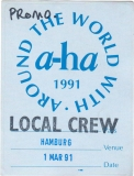 A-HA - 1991 - Local Crew Pass - Walk under Sun Dance..... Tour - Hamburg