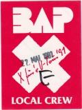 BAP - 1991 - Local Crew Pass - X füre U Tour - Stuttgart - B