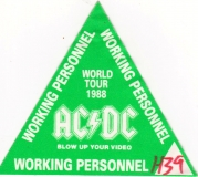 AC/DC - ACDC - 1988 - Working Pass - Blow up your Video - World Tour - Grün