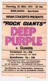 DEEP PURPLE - 1975 - Ticket - Eintrittskarte - Rock Giants - Böblingen
