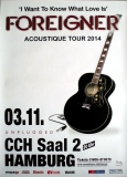 FOREIGNER - 2014 - Plakat - In Concert - Aqoustique Tour - Poster - Hamburg