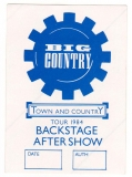 BIG COUNTRY - 1984 - Backstage Pass - Crossing the Big Country Tour - Blau