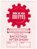 BIG COUNTRY - 1984 - Backstage Pass - Crossing the Big Country Tour - Rot