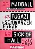 FABRIK KALENDER - 1995 - Madball - Fugazi - Sick of it All - Poster - Hamburg