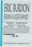 BURDON, ERIC - 1994 - Ticket - Eintrittskarte - Brian Auger Band - Dresden