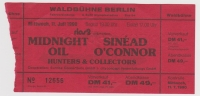 MIDNIGHT OIL - 1990 - Ticket - Sinead O'Connor - Blue Sky Mining Tour - Berlin