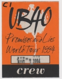 UB40 - UB 40 -1994 - Backstage Pass - Crew - Promises and Lies Tour - Dresden
