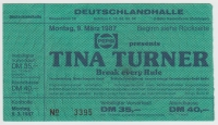 TURNER, TINA - 1987 - Ticket - Einrtittskarte - Break every Rule Tour - Berlin