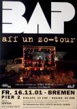 BAP - NIEDECKEN - 2001 - Plakat - In Concert - Aff un Zo Tour - Poster - Bremen