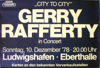 RAFFERTY, GERRY - 1978 - Plakat - Concert - City to City Tour - Poster - Ludwigshafen