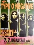 TYPE O NEGATIVE - 1997 - In Concert - October Rust Tour - Poster - Köln