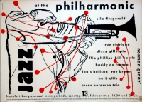 JAZZ AT THE PHILHARMONIC - 1955 - Konzertplakat - Eldridge - Gillespie - Kieser