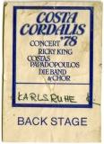 CORDALIS, COSTA - 1979 - Pass - Ricky King - Backstage