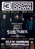 3 DOORS DOWN - 2012 - Konzertplakat - Time of my Life - Tourposter - Hamburg